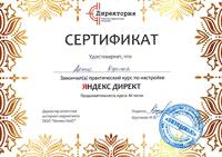 Сертификат: Контекстная реклама - Яндекс директ